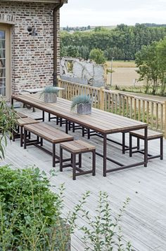Why Teak Outdoor Garden Furniture? Metal Outdoor Table, Outdoor Tables, Outdoor Spaces, Outdoor Living, Outdoor Decor, Welded Furniture, Cafe Furniture, Outdoor Garden Furniture, Dining Table With Bench