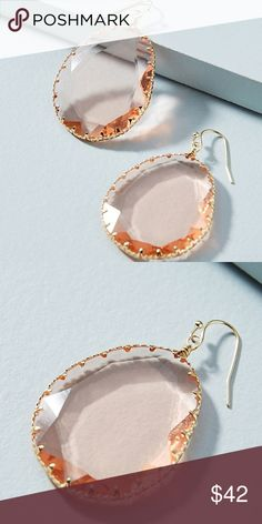 """Anthropologie Regalia Drop Earrings NWT Rose Color Brand new with tag on. Beautiful rose color clear glass stone, perfect for all year long.  Style No. 45282076 ; Color Code: 065  Plated metal, glass Imported Dimensions 1""""L, 1.5""""W Anthropologie Jewelry Earrings"""