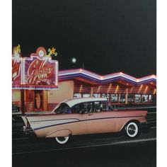 LED Lighted 1957 Chevy Bel Air in Front of a Diner Wall Art