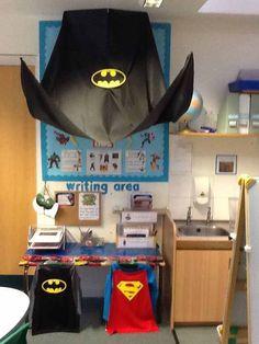 Superhero writing area- inspiring boys to write- clipboards to take away Superhero Writing, Superhero School, Superhero Classroom Theme, Classroom Themes, Classroom Design, Superhero Capes, Classroom Environment, Year 1 Classroom, Early Years Classroom