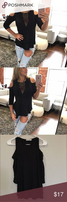 Long sleeve cold shoulder shirt I searched high and low for the softest basics for you guys. The perfect comfy cold shoulder tee for layering! 95% rayon 5% spandex, length is shown in the photo. Any questions just ask. Tops Blouses