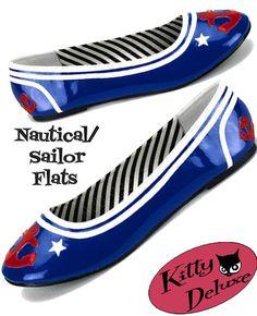 Blue Sailor Flats Punk Pin-up EMO Rockabilly Nautical