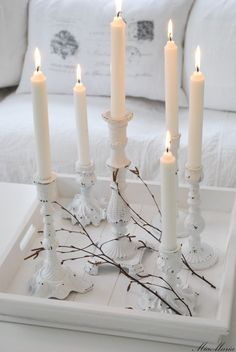 Tray & Candles. Living Room, White, Grey, Black, Chippy, Shabby Chic, Whitewashed, Cottage, French Country, Rustic, Swedish decor Idea. ***Pinned by oldattic ***.