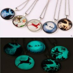 New Arrival Luminous Glow In The Dark Christmas Necklace Charm Deer Pendant Sliver Chain Color Necklace Gift For Girl Women #Affiliate