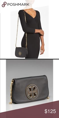 Tory Burch Amanda crossbody bag black 💯authentic Tory Burch Amanda crossbody bag in black with gold chain and leather straps. Email xtremecoupongal at yahoo for more pictures Tory Burch Bags Crossbody Bags