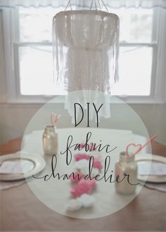 DIY fabric chandelier. (I feel like this would look pretty in a nursery!)