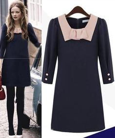 Morpheus Boutique  - Navy Pink Collar Lady 3/4Sleeve Pencil Celebrity Dress, $99.99 (http://www.morpheusboutique.com/navy-pink-collar-lady-3-4sleeve-pencil-celebrity-dress/)