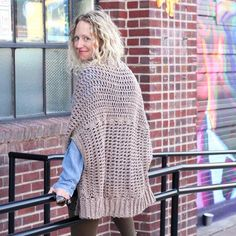 "You'd never guess by looking at this sweater that it's made from two simple rectangles! The ""Cocoon Cardigan"" crochet pattern is great for beginners who are looking to expand their skills or advanced crocheters who want a quick, stylish project.You'll work double crochet through the front loop to create a sweater than crochets up quickly and drapes beautifully.Pattern includes many helpful photos and a video tutorial for the ribbing section.One size fits most adult women with this pattern..."