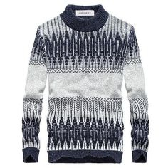heymoney Men Crew Neck Knits Top Contrast Colors Pullover Sweaters