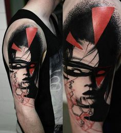 Abstract Face Tattoo by Timur Lysenko - http://worldtattoosgallery.com/abstract-face-tattoo-by-timur-lysenko-20/