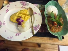 Self made dessert, sticky rice with mango and curry, Bangkok
