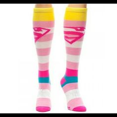 """Knee High Superman Superwoman MULIT Color Socks ALL ITEMS ARE FOR SALE  Price 1 pair - $10 a pair """"For a Limited Time Only""""  """"SHIPPING NOT INCLUDED""""  (If you would like to purchase more than 1, message me and I can create a seperate Poshmark Ad for you to pay)  Brand new, never been worn  (For Women(girls))  FOLLOW ME & CHECK MY PIX EBAY Seller Acct - escrubulua Facebook - imau1987@gmail.com lnstagram - mistah_got_it_all Twitter - @eye_got_it_all  """"PAYPAL friendly"""" as well DC Comics…"""