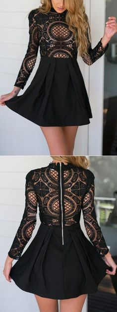 full black dress with Black High Neck Crochet Lace Panel Skater Dress style #fashion: