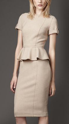Burberry London Tailored Pleat Peplum Dress