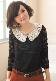 Sweet Doll Collar Long Sleeved Lace T-Shirt For Women (WHITE,ONE SIZE) China Wholesale - Sammydress.com