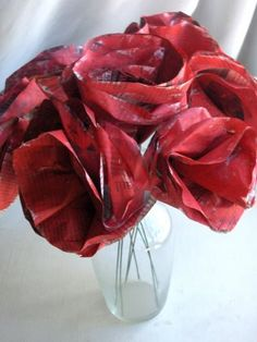 red newspaper roses