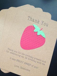Strawberry Kids Thank You Card Set #kidthankyoucard #strawberrybirthdayparty