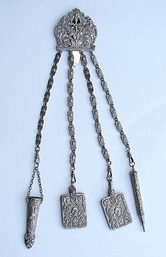 1860 silverplate sewing chatelaine