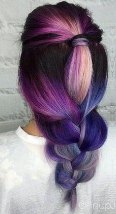 Purple pink braided dyed hair