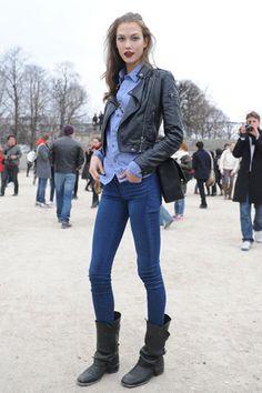 camisa jean botas negras