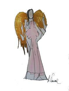 Rosa Schutzengel mit Blattgold /  Info auf engel4you.com Humanoid Sketch, Art