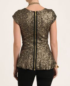 Eros Apparel Sleeve Sequin Peplum Top...If I wasn't pregnant this would be my Christmas Eve outfit