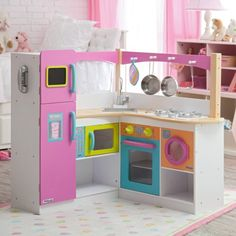 KidKraft Big & Bright Grand Gourmet Corner Kitchen - Play Kitchens at Hayneedle Wooden Play Kitchen Sets, Kitchen Sets For Kids, Kids Play Kitchen, Toy Kitchen, Play Kitchens, Kitchen Wood, Kidkraft Kitchen, Kitchen Design, Kitchen Playsets
