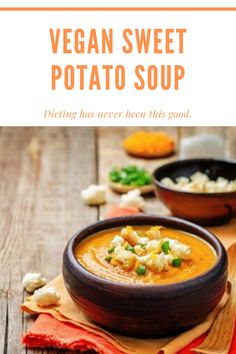 Vegan Sweet Potato Soup has a powerful antioxidant punch and many more benefits including anti-inflammatory, low calorie, and diabetic friendly. Healthy Dinner Recipes, Healthy Foods, Real Food Recipes, Soup Recipes, Healthy Eating, Cooking Recipes, Free Recipes, Vegan Potato Soup, Sweet Potato Soup