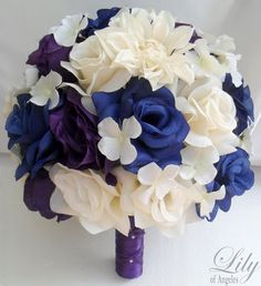 Model: PUBL01  This wedding flower package is made with natural looking Ivory Dahlia, Ivory, dark Blue and Purple Roses and Ivory Hydrangeas.    17