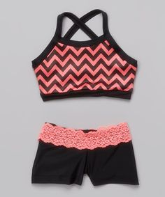 Loving this Coral Zigzag Crisscross Crop Top Black Lace Shorts - Girls on #zulily! #zulilyfinds