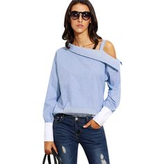 Shop Blue Striped Fold Over Asymmetric Shoulder Contrast Cuff Blouse online. SheIn offers Blue Striped Fold Over Asymmetric Shoulder Contrast Cuff Blouse & more to fit your fashionable needs. Fashion Mode, Fashion 2020, Womens Fashion, Korean Fashion, Fashion Brands, Xl Mode, One Shoulder Tops, Cold Shoulder, Shirts & Tops