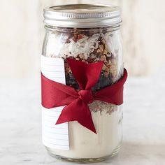 This holiday season, give the gift of a tasty dessert to friends and family with our classic cookie in a jar recipe. Featuring layers of chocolate, toffee, coconut, and pecans, the crowd-pleasing cookie mix can be stored for up to a month.