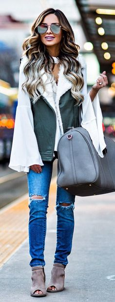 #winter #fashion / Green Vest / White Blouse / Grey Leather Tote Bag / Ripped Skinny Jeans / Grey Velvet Open Toe Booties