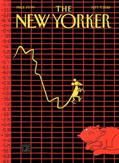 "The New Yorker - Monday, September 2015 - Issue # 4606 - Vol. 91 - N° 26 - Cover Animated Gif ""The Mouse of Wall Street"" by Joost Swarte The New Yorker, New Yorker Covers, Typography Layout, Typography Poster, Print Magazine, Magazine Design, Magazine Art, Cd Cover, Cover Art"