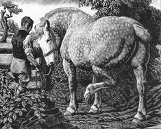 """A 1940 wood engraving """"The Percheron"""" for the Royal Academy."""