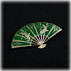 Siam Sterling Silver Green Enamel Fan Brooch Pin 925 Thailand. $36.00 SOLD!