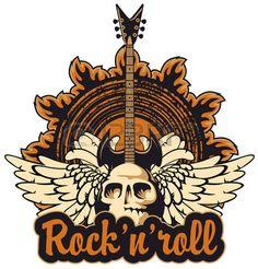 cartel de un concierto de rock con un cr neo humano y la guitarra el ctrica Foto de archivo