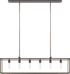 """BELDEN LINEAR PENDANT. 56""""w x 14""""h(fixture) x overall53""""h (custom height available). $1050 retail in aged iron.  Like the Thornton but less expensive. I like this a lot if the dimensions are right."""