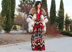 Madame de Rosa, autumn inspired maxi dress and mixed fur coat