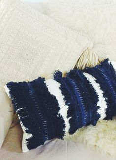 DIY fringe-stripe pillow