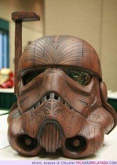 Awesome Star Wars Storm Trooper helmet made from wood and engraved like a boss is awesome!