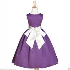Nuevo Ciruela concurso formal vestido de flores niña de vacaciones 2 2T 3 3T 4 5/6 6X 8 10