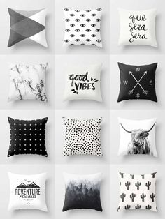 Society6 Black & White Throw Pillows - Society6 is home to hundreds of thousands of artists from around the globe, uploading and selling their original works as 30+ premium consumer goods from Art Prints to Throw Blankets. They create, we produce and fulfill, and every purchase pays an artist.