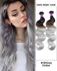 """18""""Black Granny Grey Ombre Weave Body Wave Weft Remy Human Hair Extensions"""