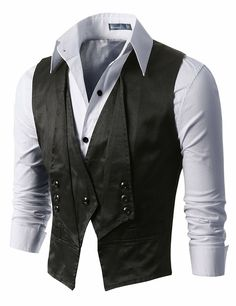 grayskiesfashion: J.Tomson - Mens Vest with One Button Up And Three Buttons On The Fold