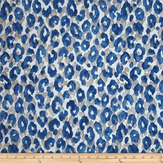 P Kaufmann Indoor/Outdoor Snow Leopard Cornflower from @fabricdotcom  This great outdoor fabric is perfect for outdoor settings and indoors in sunny rooms. It is fade resistant up to 500 hours of direct sun exposure. Create decorative toss pillows, chair pads, tabletop and tote bags. To maintain the life of the fabric bring indoors when not in use. This fabric can easily be cleaned by wiping down or hand washing with warm water and a mild soap solution, simply rinse with clear water to…