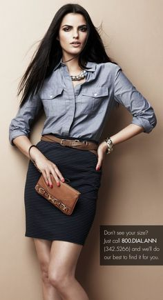 I love chambray shirt and skirt, maybe skirt needs to be a little longer for me - just sayin! simple classic - chambray + navy pencil skirt + cognac belt