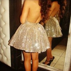 Dress: prom glitter glitter sequins gold pretty short backless