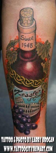 by Larry Brogan: Tattoo Inspiration - Worlds Best Tattoos Great Tattoos, New Tattoos, Tattoos For Guys, Awesome Tattoos, Tatoos, Wine Tattoo, Bottle Tattoo, Wine Vine, Food Tattoos