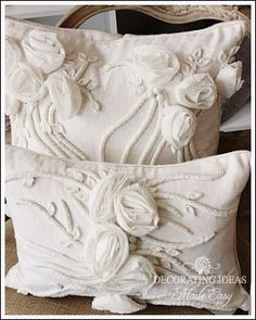 Lovely decorative rosebud pillows.